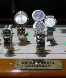 Display of Swiss watches