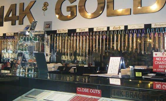 Large display of gold jewelry at Emerald City Jewelers, Parma Ohio's most trusted gold buyer