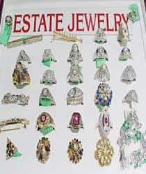 Collection of Estate Jewelry on display at Emerald City Jewelers in Cleveland, Ohio