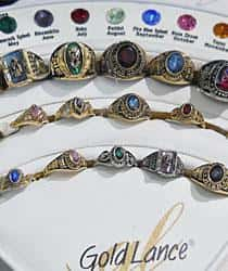Custom class rings on display