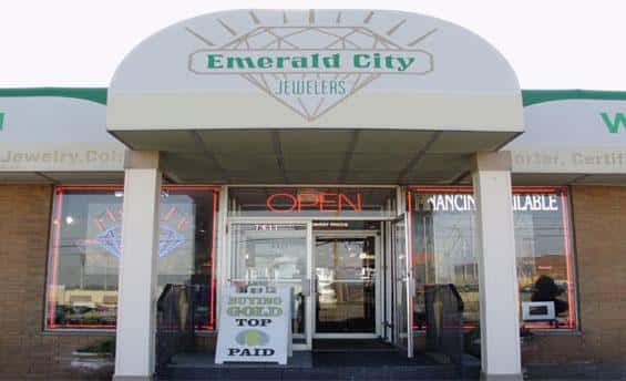 Storefront of Emerald City Jewelers in Parma Ohio